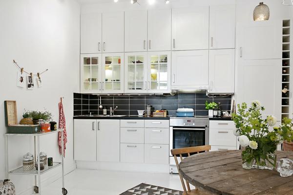 wohnung skandinavisches design küche einrichten küchenfronten weiß