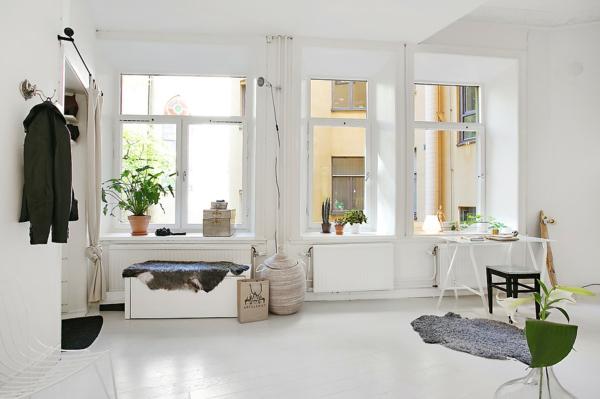wohnung skandinavisches design offener wohnraum arbeitszimmer büroeinrichtung