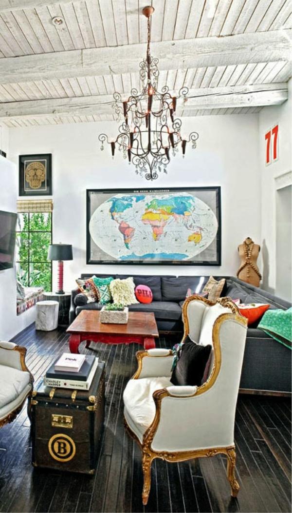 Wohnzimmer Gestalten Polstermbel Weltkarte Wandgestaltung Wandgemlde