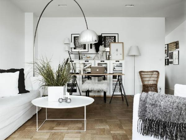 wohnzimmer ideen skandinavisch einrichten skandinavisches design weiß silber bodenlampe