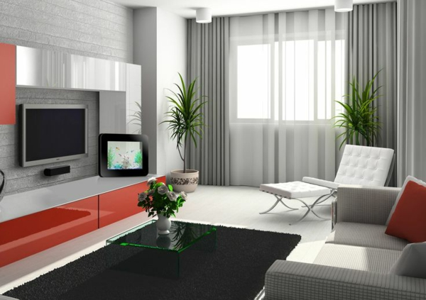 vorhänge wohnzimmer grau:wohnzimmer modern einrichten tv wohnwand fenster sichtschutz vorhänge