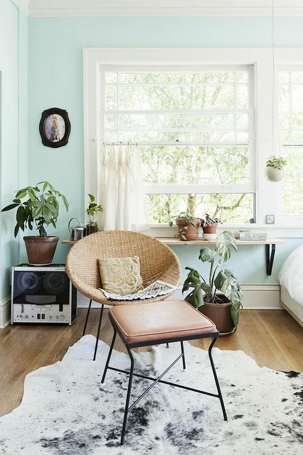 wohnzimmer wandfarbe hellgrün frisch