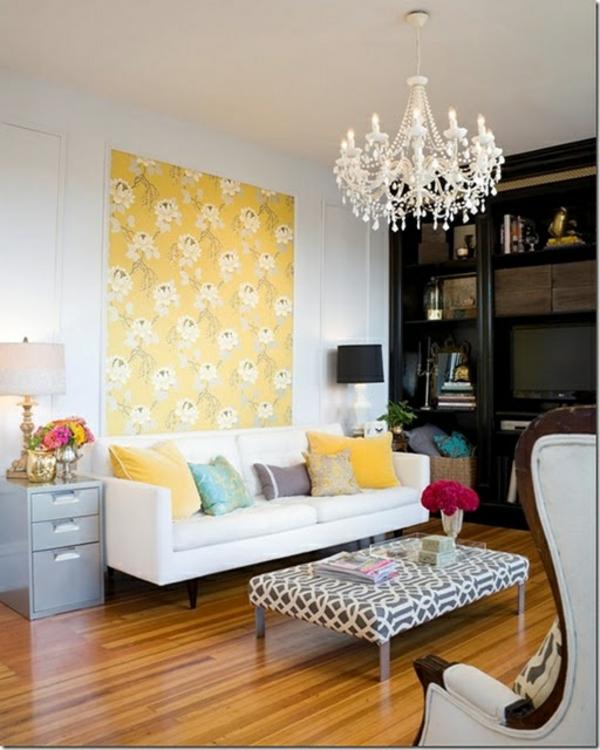 wohnzimmer wandgestaltung ideen blumenmuster gelb wandteppich