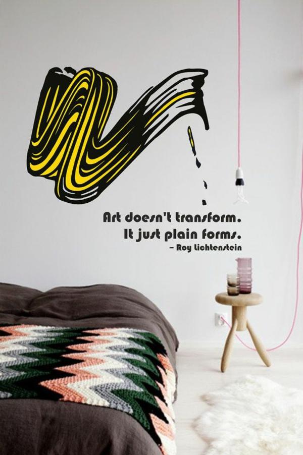 wohnzimmer wandgestaltung ideen pop art popkunst ideen