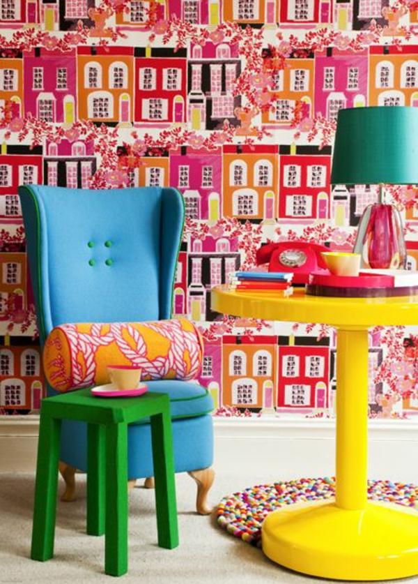 wohnzimmer wandgestaltung ideen pop art tapetenmuster häuser