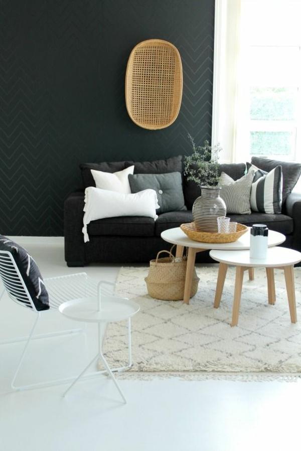 wohnzimmer wandgestaltung ideen schwarz wandtapeten chevronmuster