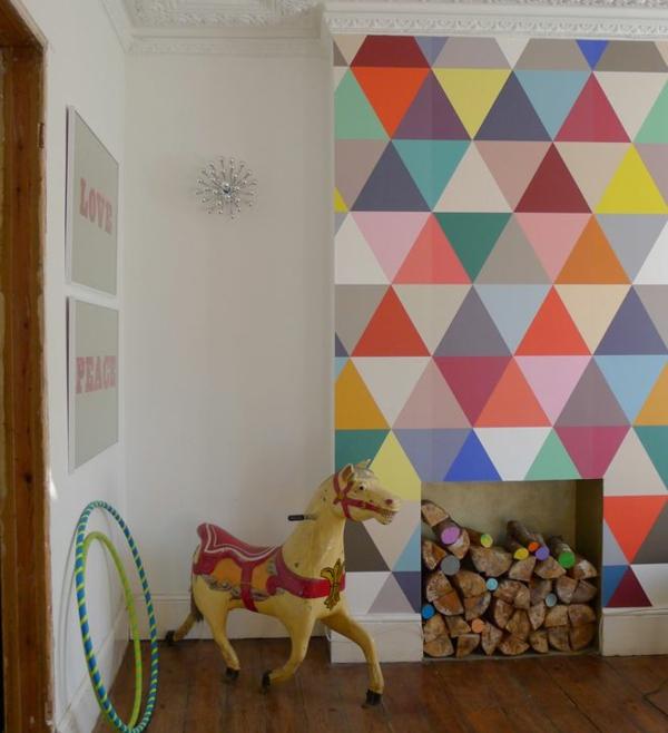 wohnzimmer wandgestaltung ideen - coole beispiele für tapetenmuster - Farbige Wandgestaltung Beispiele