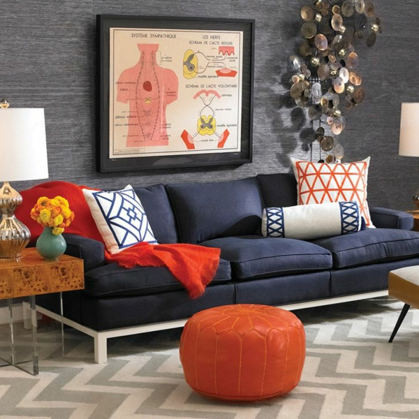wohnzimmer wandgestaltung ideen - coole beispiele für tapetenmuster - Wohnzimmer Grau Orange