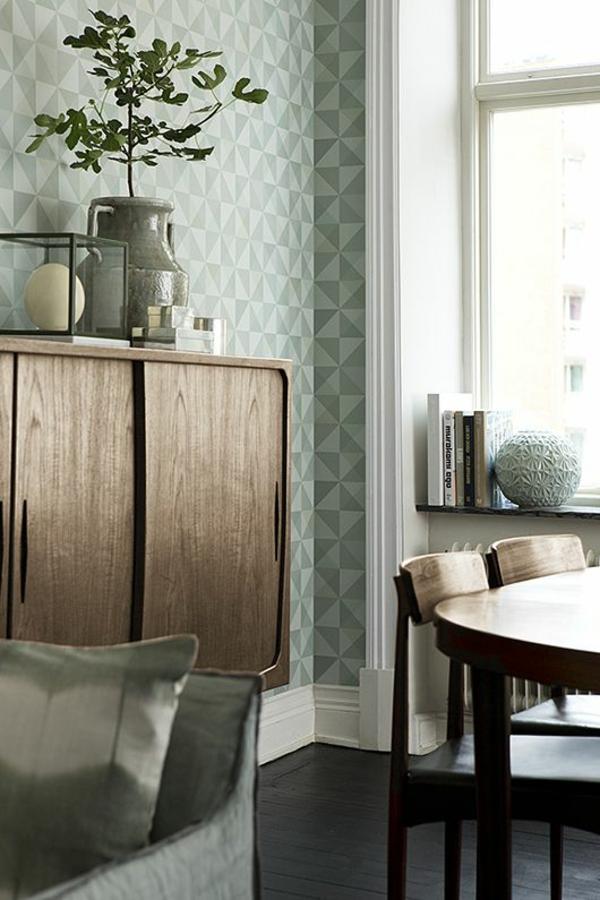 Wandtapeten F?r Wohnzimmer : wohnzimmer wandgestaltung ideen wandtapeten muster geometrische formen