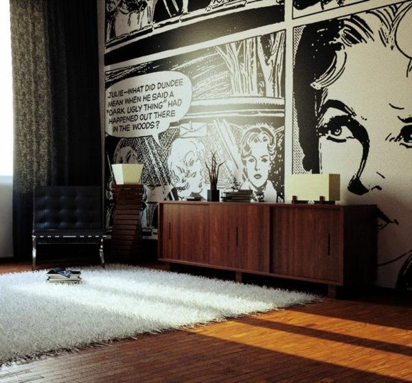 wohnzimmer wandgestaltung ideen wandtapeten pop art
