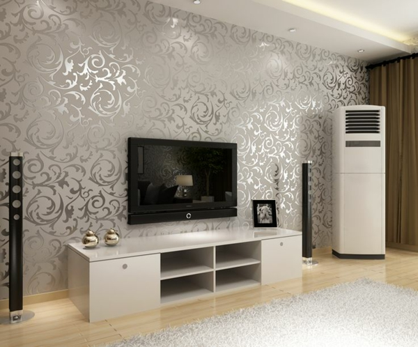 wohnzimmer wandgestaltung ideen wohnwand gestalten florale muster silber