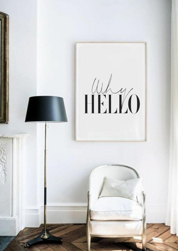 wohnzimmer wandgestaltung moderne kunst wanddeko ideen schwarz weiß