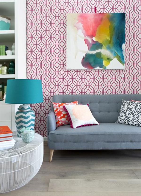 wohnzimmer wandgestaltung wandtapeten tapetenmuster farbideen rot
