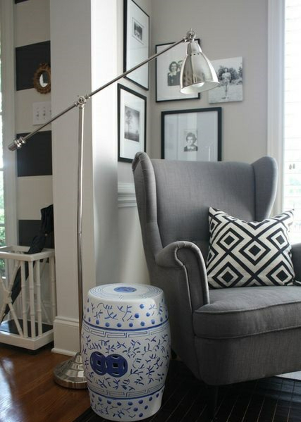 wohnzimmerlampen holz:wohnzimmerlampen modern standleuchten bodenlampe silber polstersessel