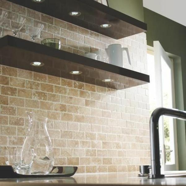 ziegelwand küche fliesenspiegel rückwand küche wandfliesen verlegen