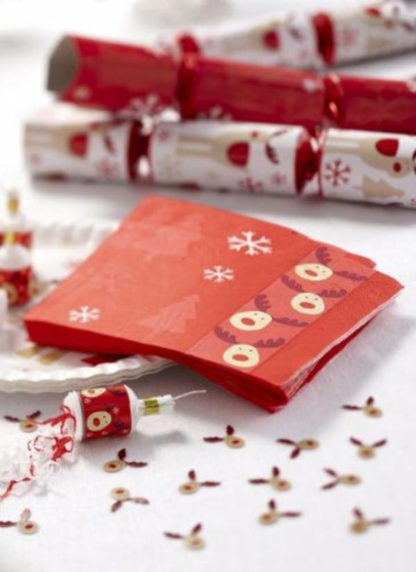 Bastelidee schneeglöckchen Weihnachten Moderne Weihnachtsdeko serviette