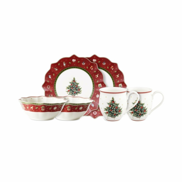 Weihnachten rot kanten Moderne Weihnachtsdeko teeservice