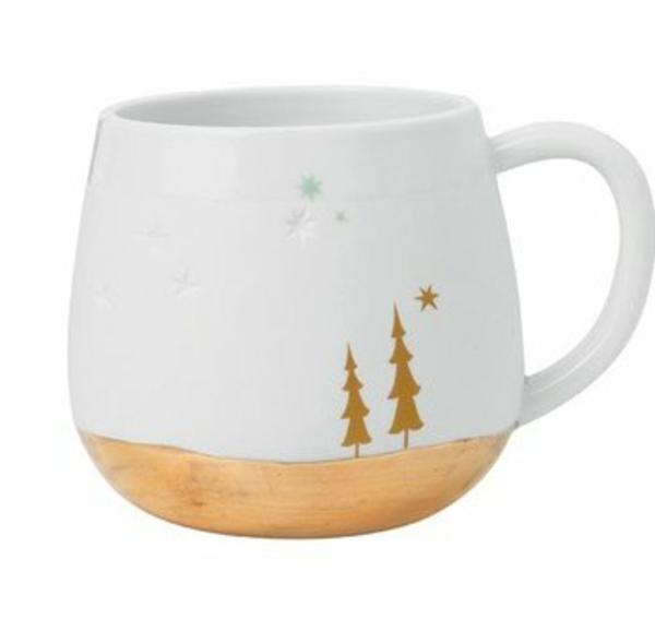 weiß gelbe tannenbäume Moderne Weihnachtsdeko teetasse