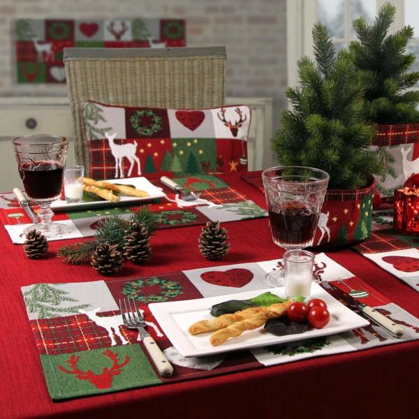 Bastelidee tischdeko Weihnachten Moderne Weihnachtsdeko rot