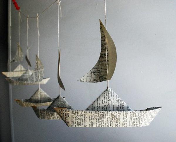 Bastelideen aus Papier boot schiff