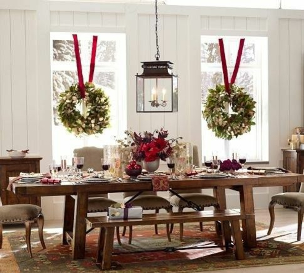Bastelideen für Fenster Weihnachtsdeko kranz idee