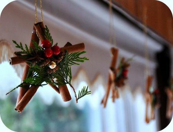 Bastelideen für Fenster Weihnachtsdeko zimt