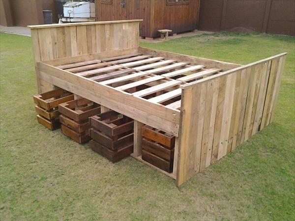 DIY Betten aus Holzpaletten gestell kopfteil