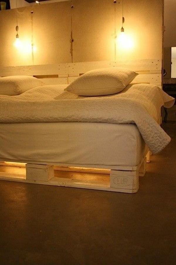 wand leuchter Betten aus Holzpaletten romantisch licht