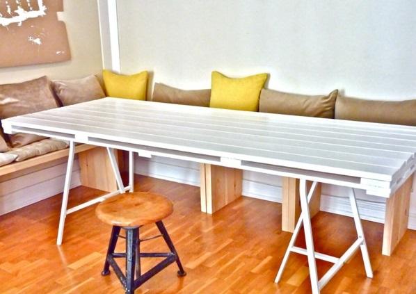 DIY Möbel alten Paletten esstisch weiß