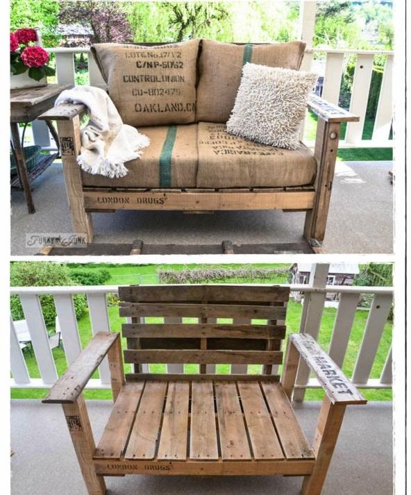 DIY auflagen Möbel aus alten Paletten gartenbank kissen