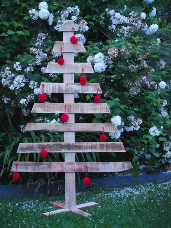 DIY Möbel alten Paletten weihnachten tannenbaum
