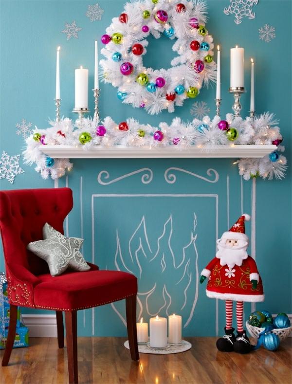 Deko Girlanden ständer silbern Weihnachten kerzen
