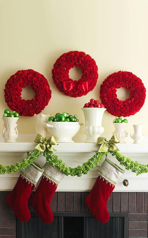 Deko rote stoffe Girlanden zu Weihnachten kranz