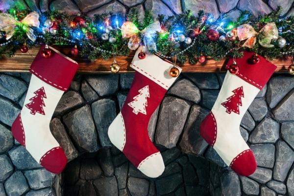 Deko  Girlanden elegant Weihnachten socken rot weiß kinder