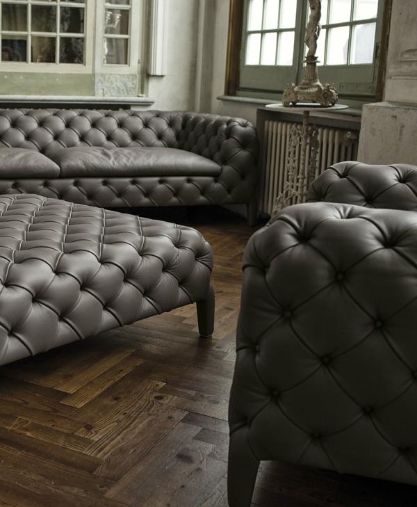 möbel design grau leder sessel couch sofa