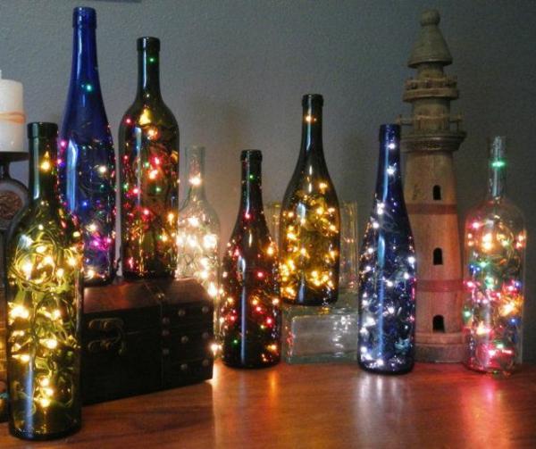 Christmas Lights Wine Bottle Craft