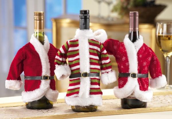 Flaschendeko zu Weihnachten spray mantel rot kostüm