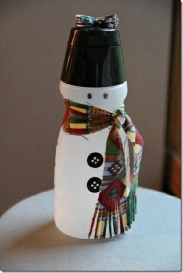 Flaschendeko Weihnachten spray schal schneemann