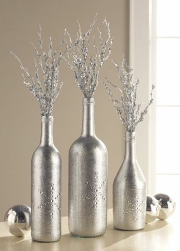 Flaschendeko besprühen Weihnachten spray silbern