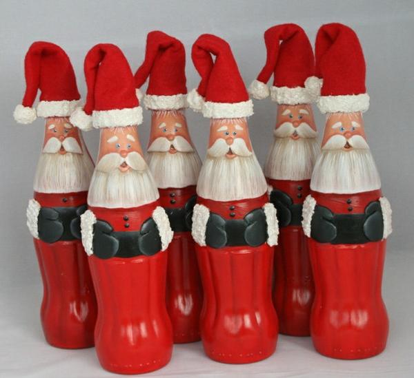 Flaschendeko zu Weihnachten spray weihnachtsmann coka cola