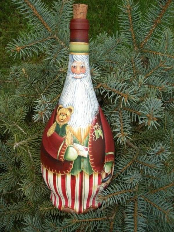 Flaschendeko Weihnachten spray weihnachtsmann