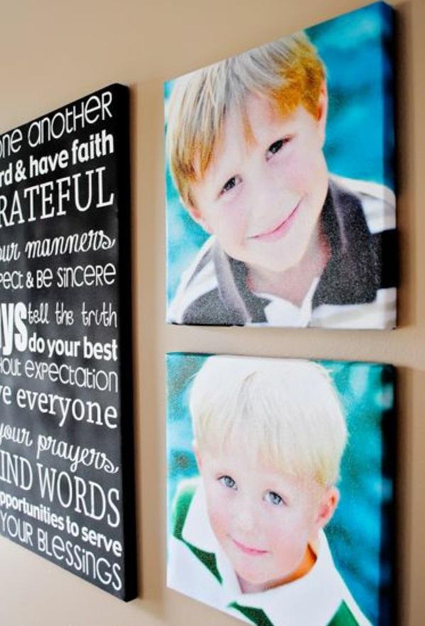 Fotos auf Leinwand selber machen fotocollage babys