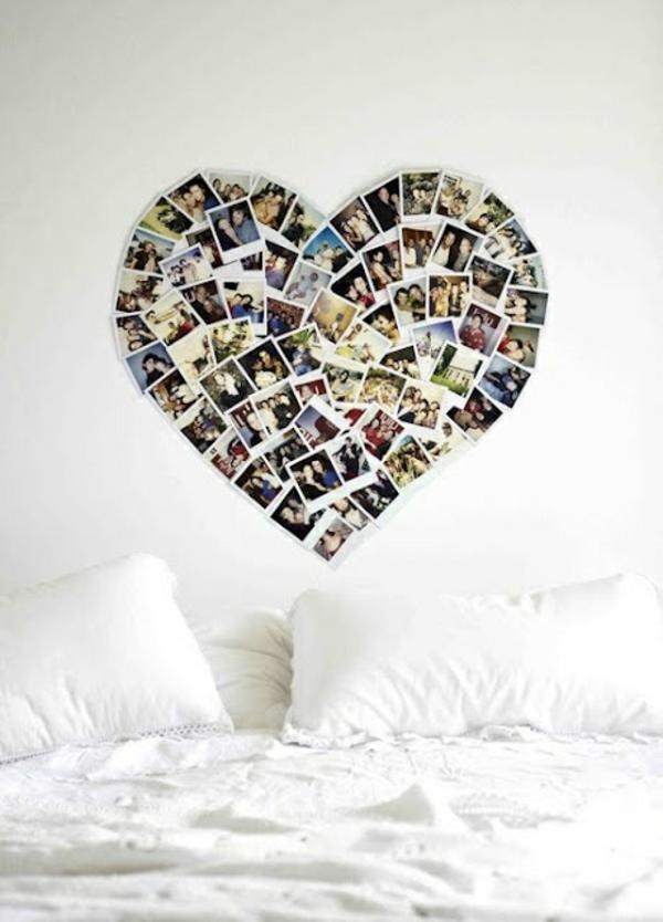 Fotos auf Leinwand selber machen fotocollage herzen
