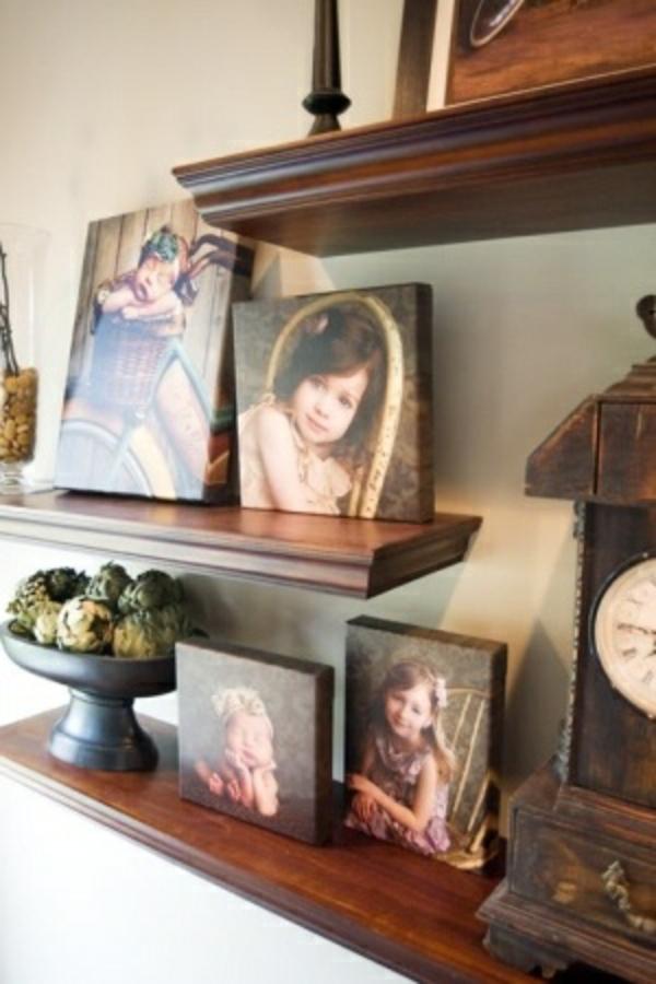 Fotos-auf vintage Leinwand selber machen fotocollage regale