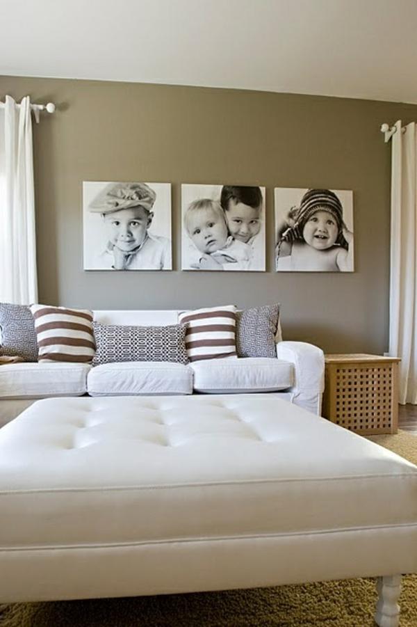 Fotos auf Leinwand selber machen fotocollage schlafzimmer