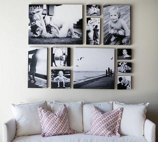 Fotos auf Leinwand selber machen fotocollage sofa