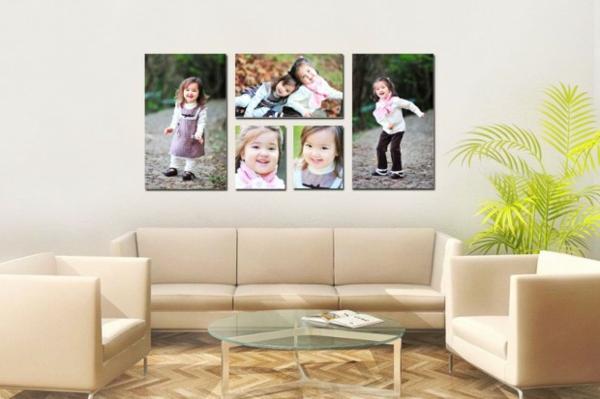 Fotos auf Leinwand selber machen fotocollage wohnzimmer