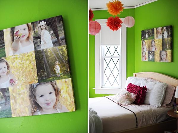 Fotos Leinwand selber machen grün wand