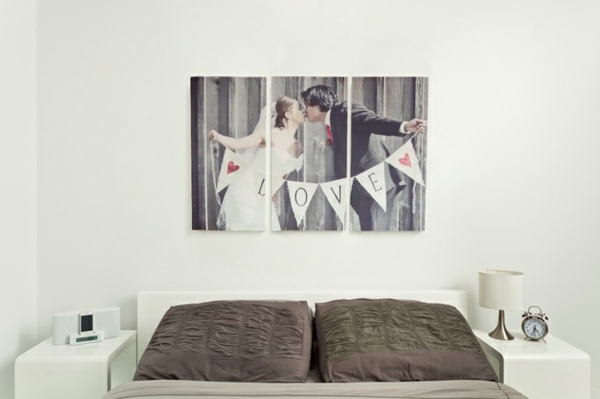Fotos auf Leinwand selber machen schlafzimmer sofa