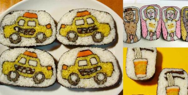 Gerissene Sushi Arten autos taxi cabin